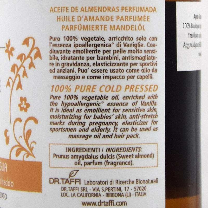 vanilia almond oil vegan dr. taffi