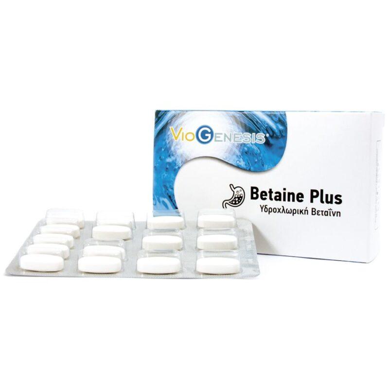 Viogenesis Betaine Plus Υδροχλωρική Βεταϊνη 60 ταμπλέτες
