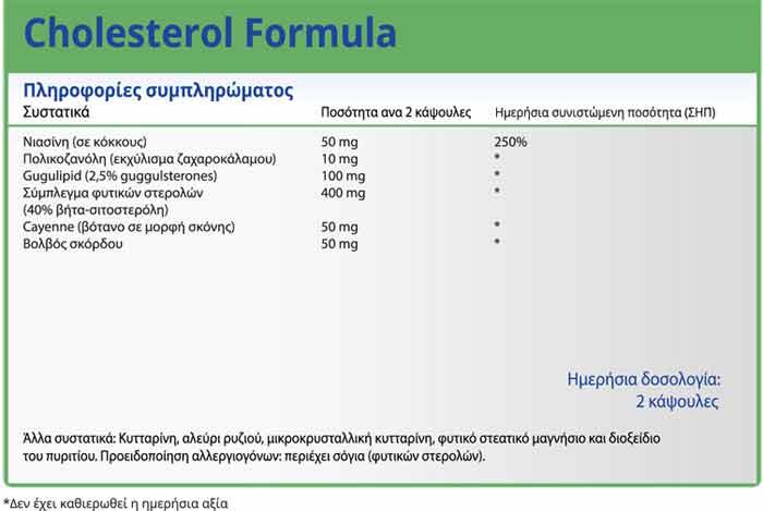 Natural Vitamins Cholesterol Formula Μείωση χοληστερίνης φυσικά 60 Κάψουλες