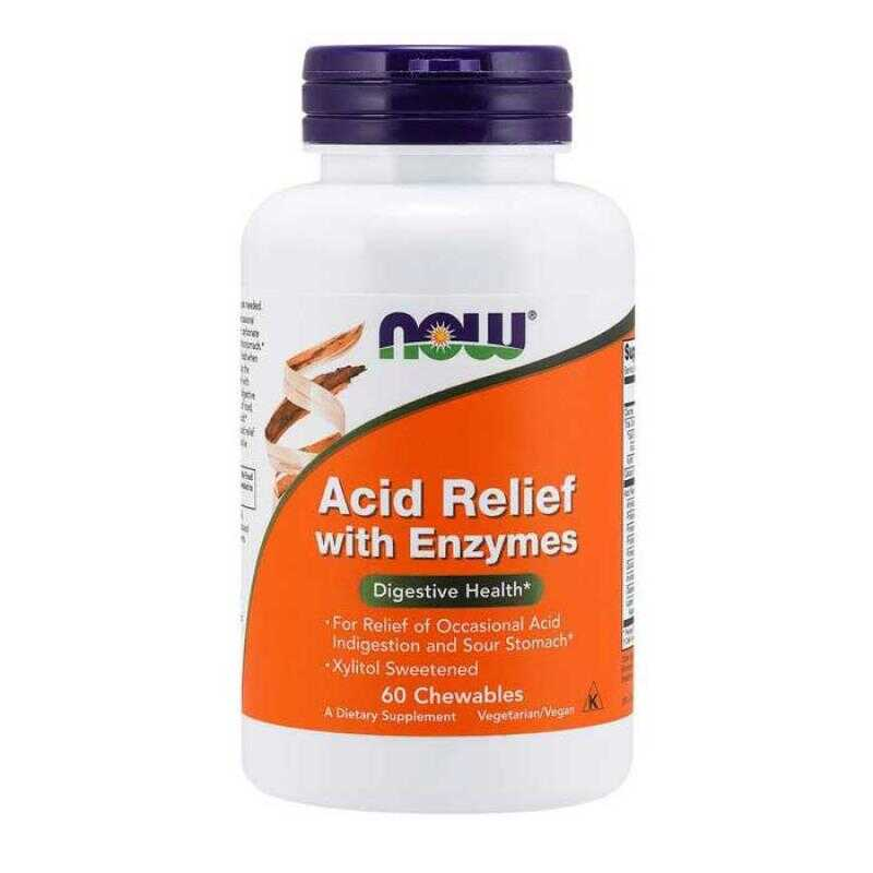 Acid Relief with Enzymes 60 Chewables - Now Foods