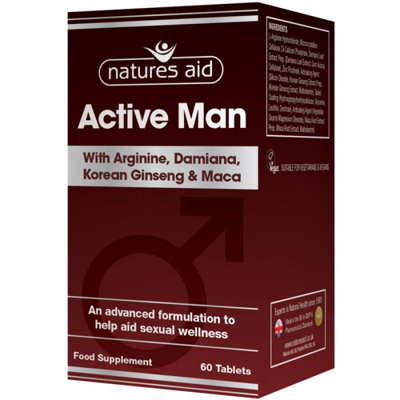Natures Aid Active Man with Arginine, Damiana, Ginseng & Maca 60 ταμπλέτες
