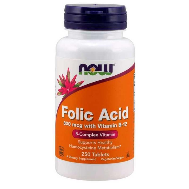 Now Foods Folic Acid 800mcg with Vitamin B12 250 ταμπλέτες
