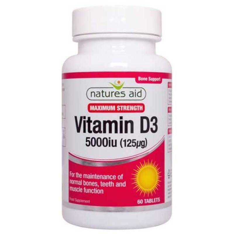 Natures Aid Vitamin D3 5000iu 125μg 60 ταμπλέτες