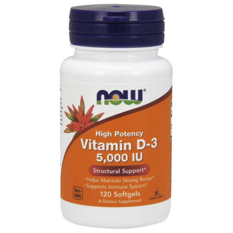 Vitamin D-3 5000 IU 120 μαλακές κάψο?λες - Now / Βιταμίνη D3