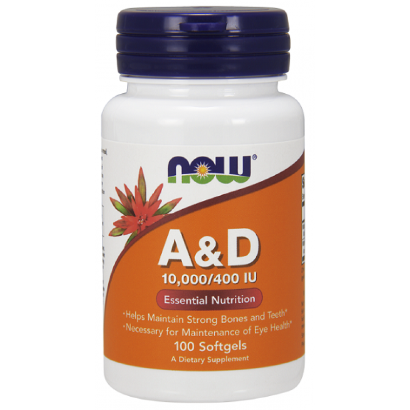 Now Foods Vitamin A & D 10000/400 IU 100 μαλακές κάψουλες