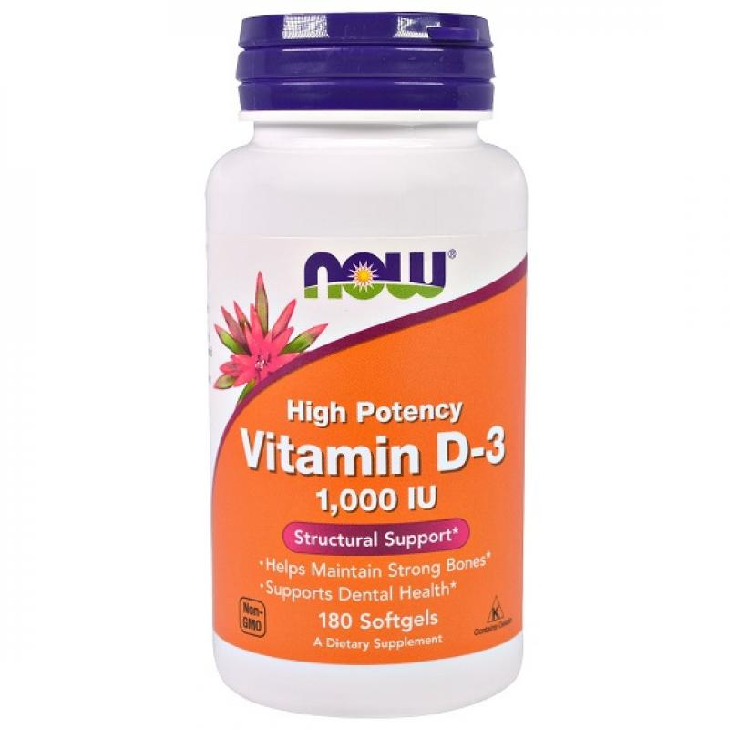 Now Foods High Potency Vitamin D-3 1000 IU 180 μαλακές κάψουλες