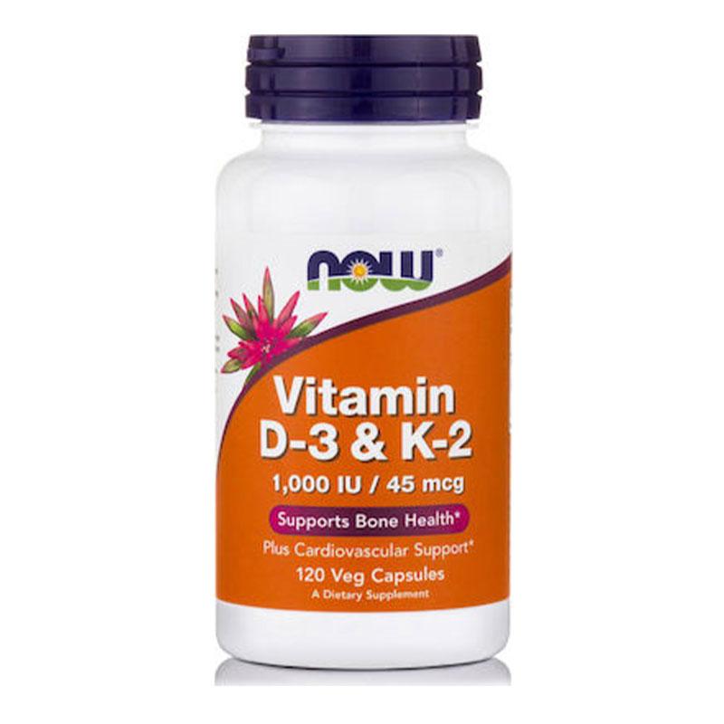 Now Vitamin D3 & K2 1000 IU/45 mcg 120 Kάψουλες