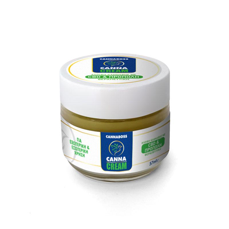 CannaCream - Φυσική Κρέμα με Κανναβιδιόλη CBD & Πρόπολη (Αλοιφή) - CannaBoss 57 ml