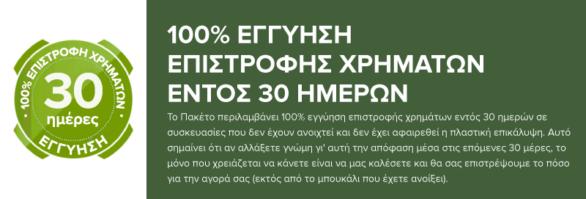 100% ΕΓΓΥΗΣΗ ΕΠΙΣΤΡΟΦΗΣ ΧΡΗΜΑΤΩΝ ΕΝΤΟΣ 30 ΗΜΕΡΩΝ